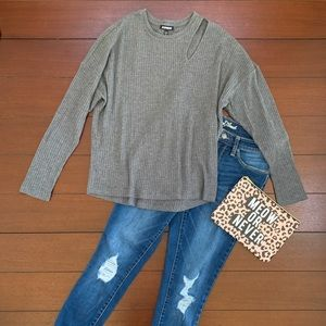 Grey Waffle Pullover Cutout Dolman Sweater